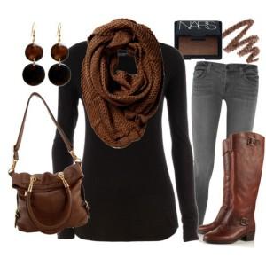 Outfit jesienny brąz-czerń.