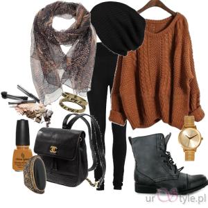 Jesienny outfit brąz.
