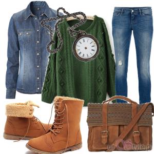 Outfit jesienny brąz-zieleń